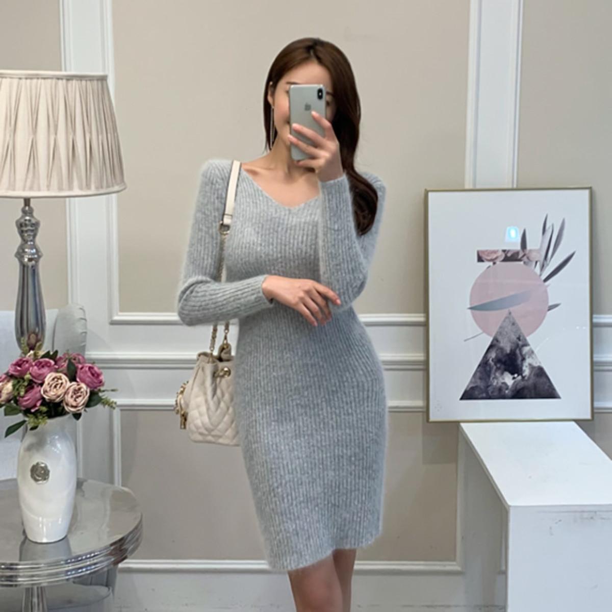 Weekend V Neck Angora Knit Dress