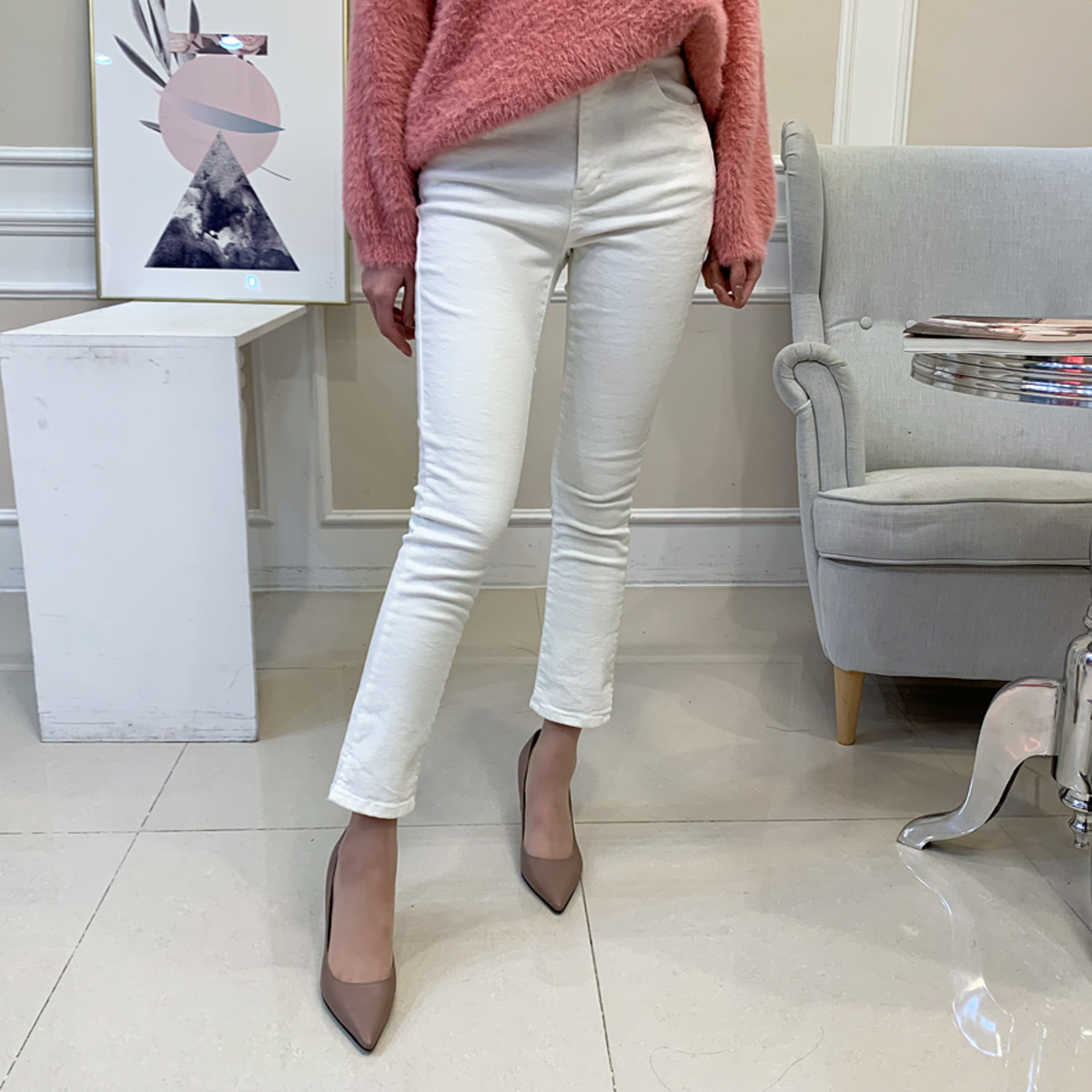 Arm Red Ribbed Brushed Skinny Jean