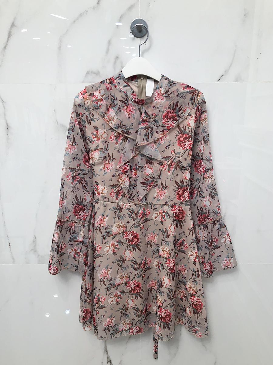 Daphne Flower Chiffon Ruffle Dress