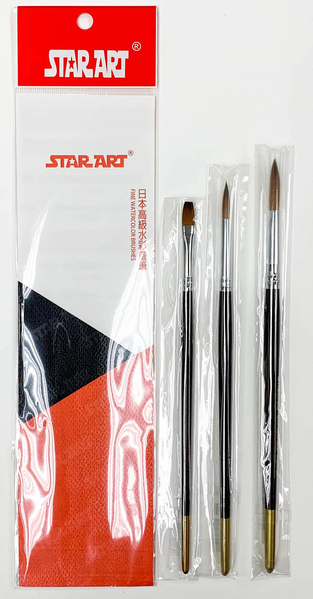 日本高級水彩畫筆套裝D (2平,6尖,8尖)