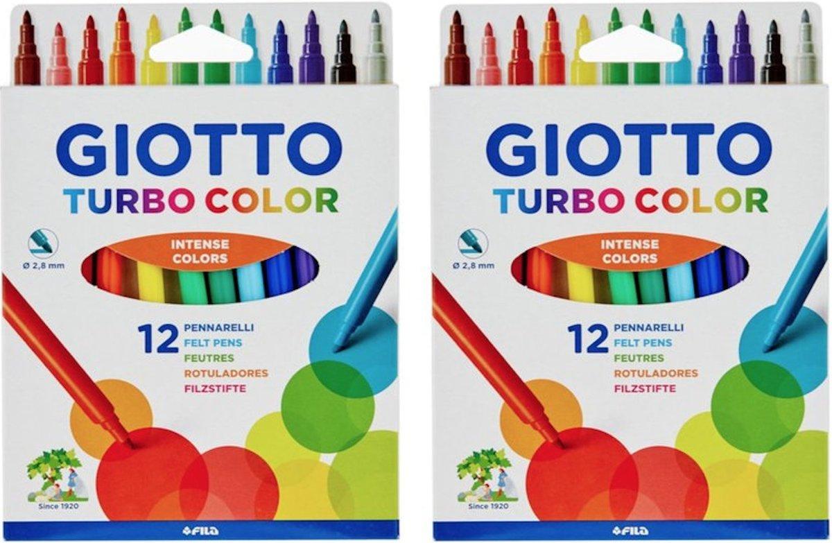 2 PACKS Turbo Colour Felt Pens 12 Pieces