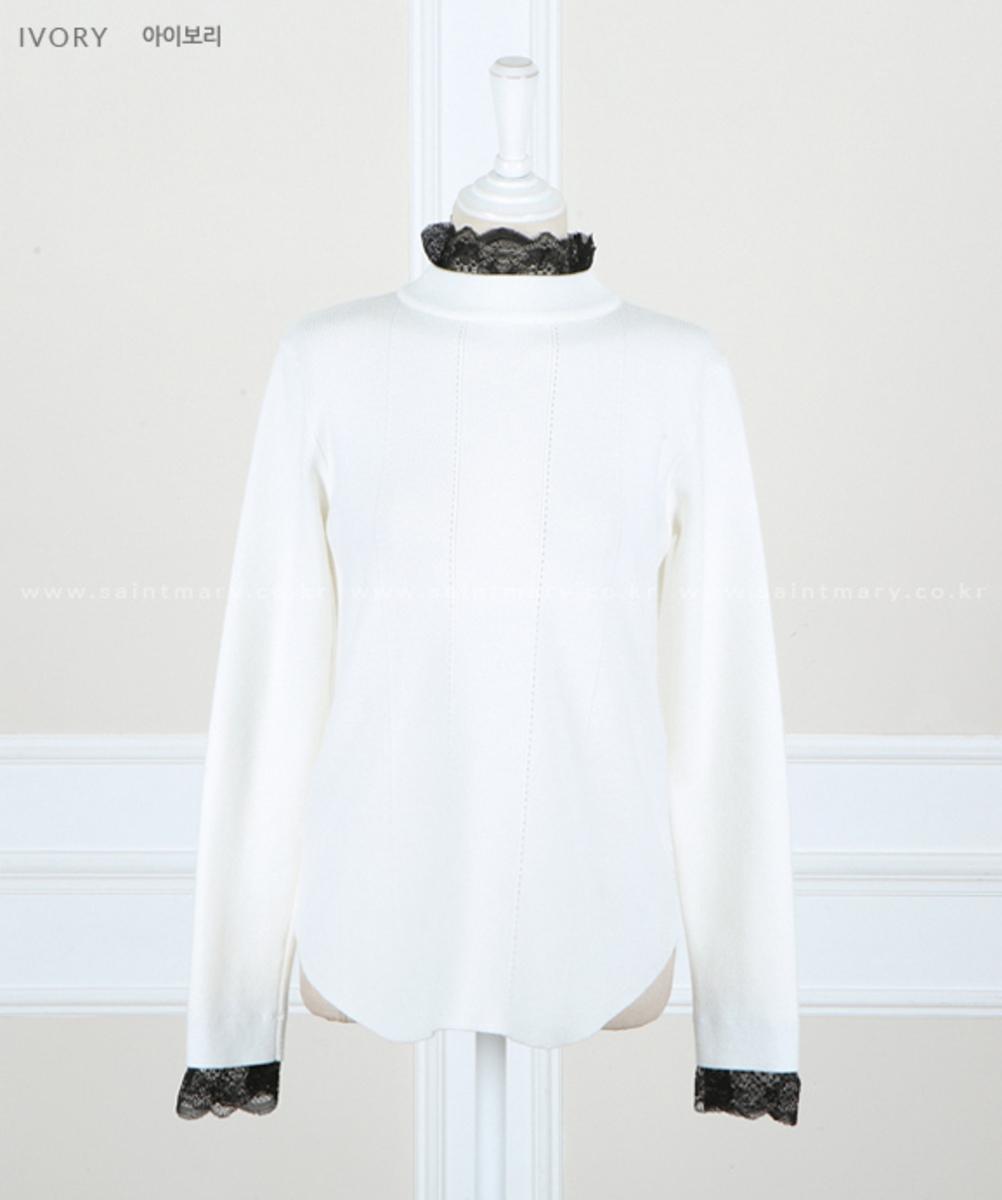 撞色Lace領袖口針織衫