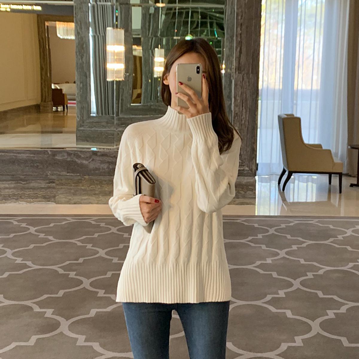 純色格子條針織衫