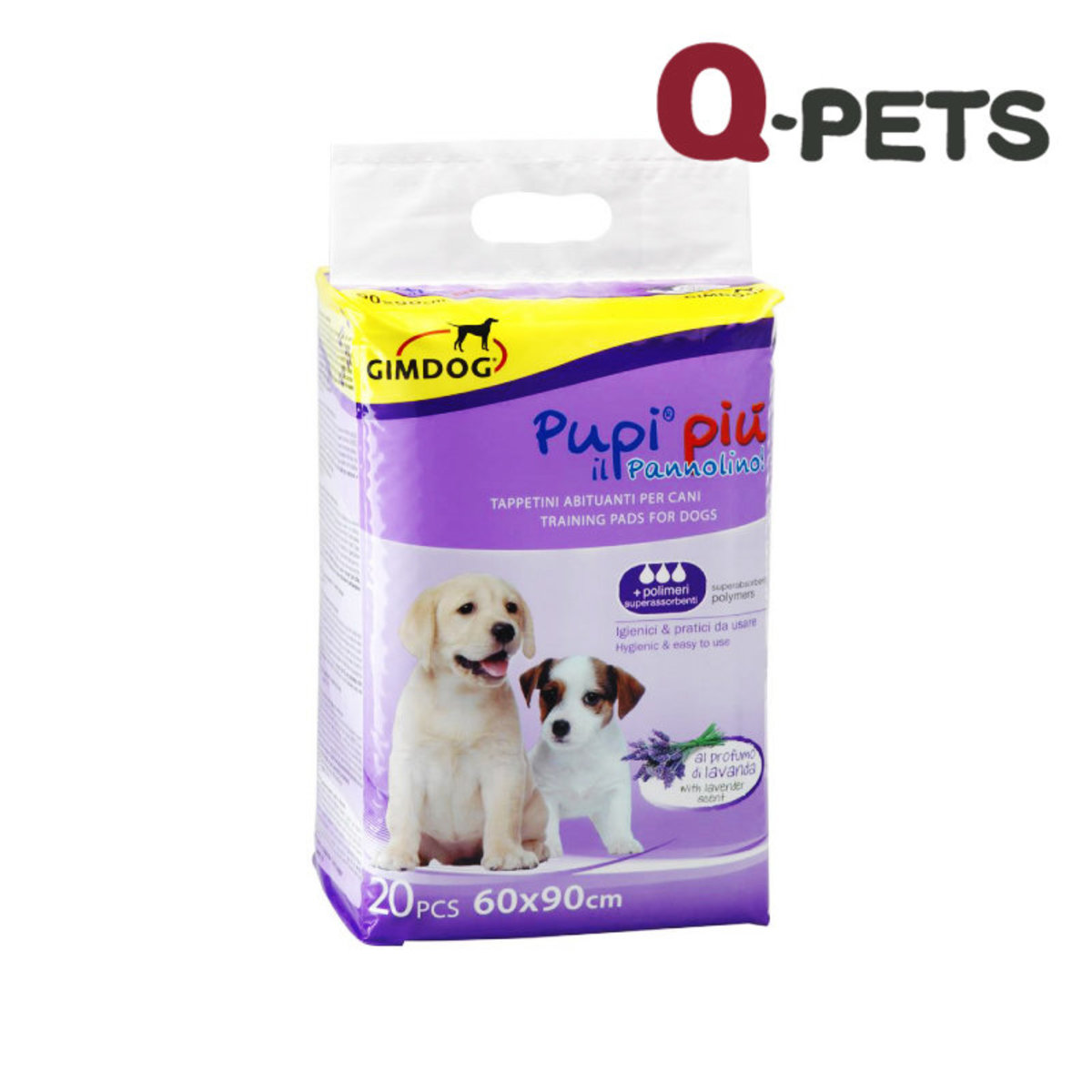DOG SHEET PUPI PIU 60X90 WITH LAVENDER PERFUME - 20PCS