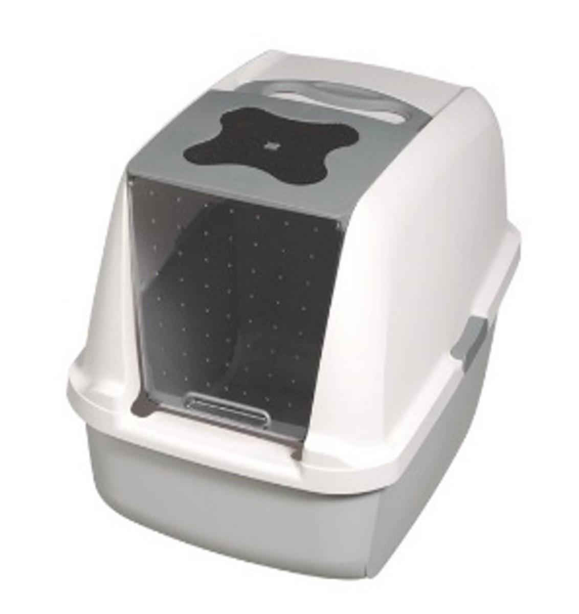 Cat Hooded Cat Litter Pan,Grey & White-V 57x46.5x39cm