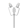 3 in 1 Apple 蘋果 / Type C / Micro USB 特快1.5 倍充電線 銀色 (1m)