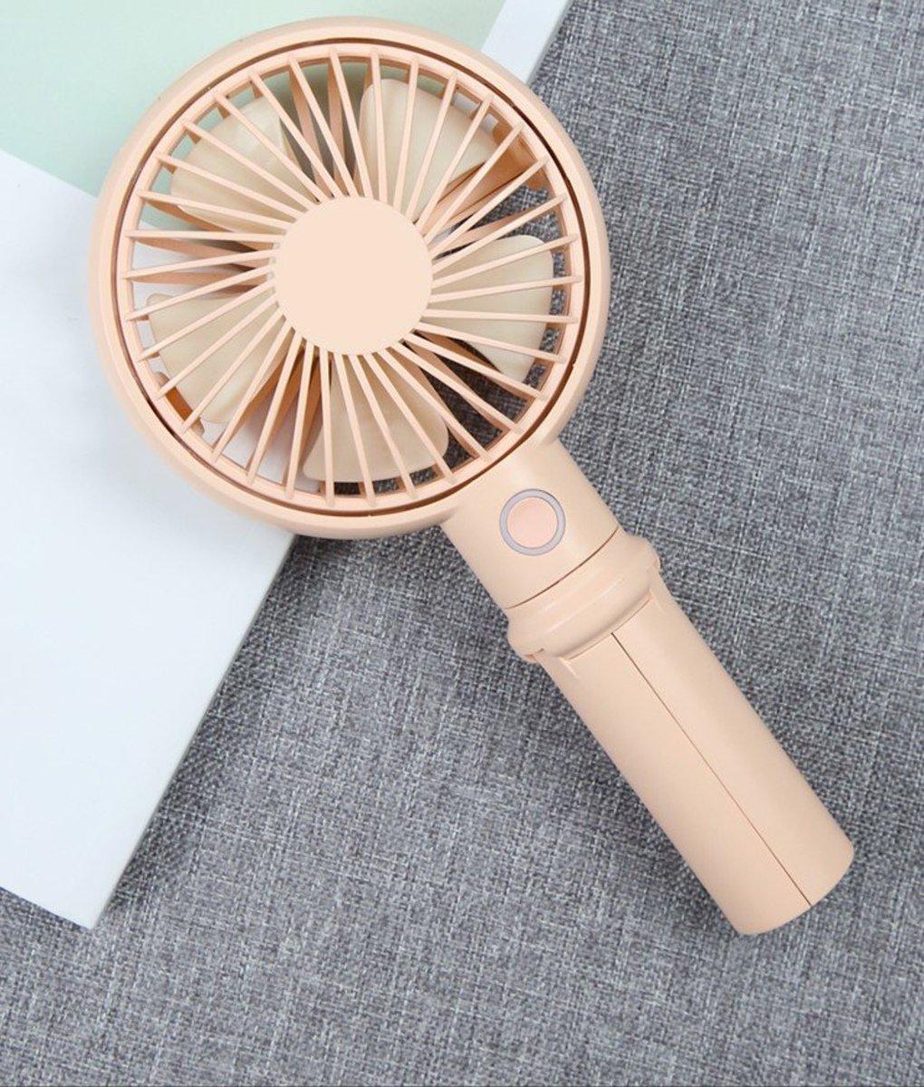 Benks 迷你隨身多功能手持小風扇靜音可坐檯 -- 粉紅色