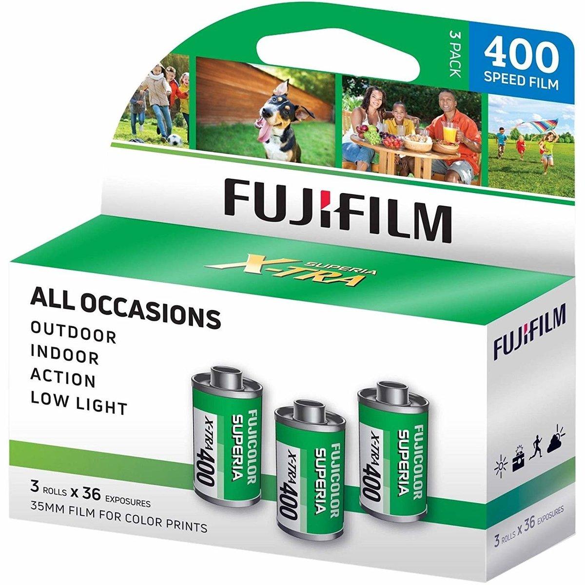 FUJICOLOR SUPERIA X-TRA 400 ISO 35mm Film 彩色菲林 (3 筒裝)