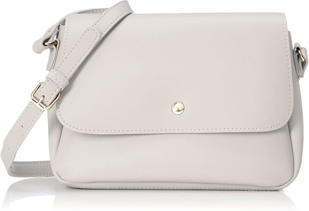 Light Weight Fake Leather Cross Body Shoulder Bag With Card Holder LG-E1213 Light Grey