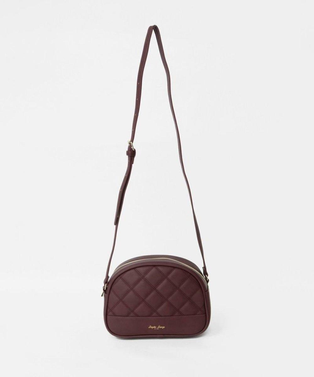 Quilted half moon type mini shoulder bag LG-T0281-BGD Burgundy