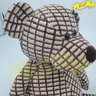 Chenille Knitted Teddy Bear Brown Checkered Pattern  (46cm) -20K166K82