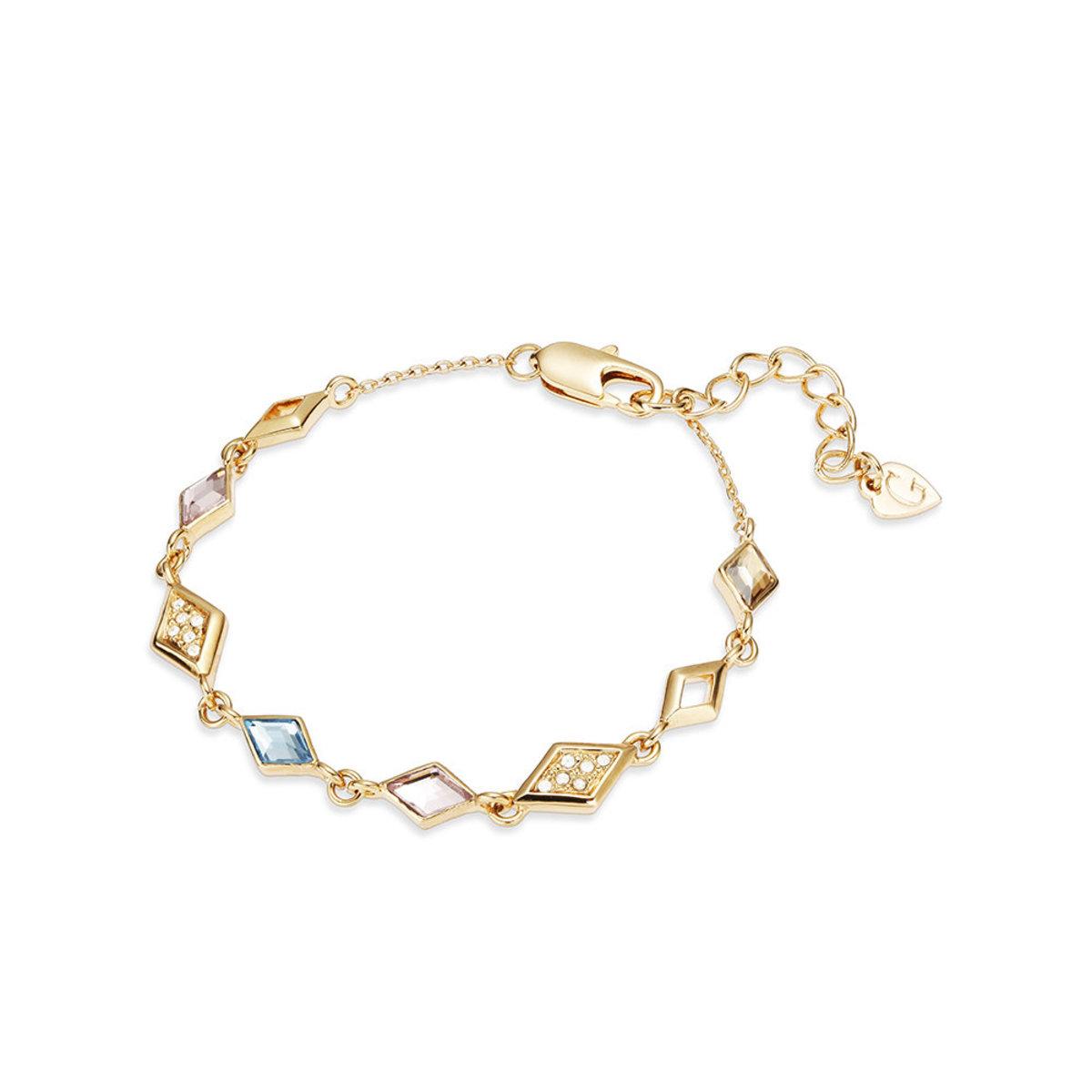 Glitter: gold plating, multi-coloured Swarovski crystal bracelet