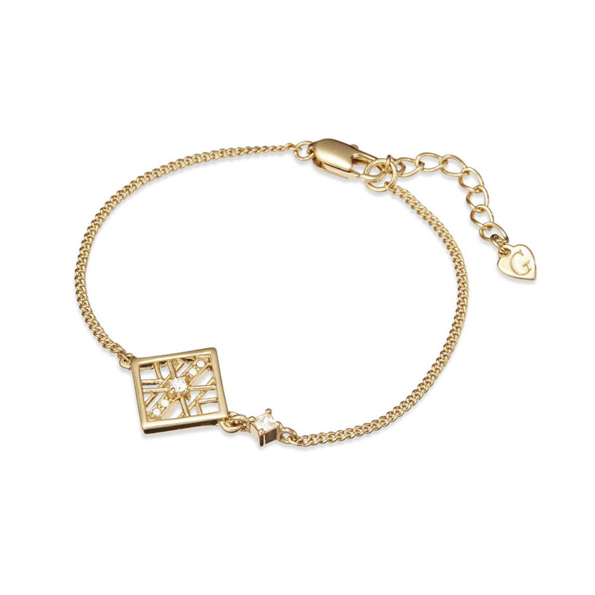 Alluring: gold plating, rhinestone, CZ stone, square pendant necklace