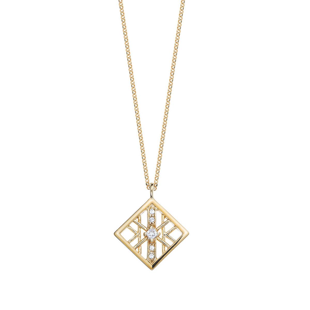 Alluring: gold plating, Swarovski crystal, square pendant necklace