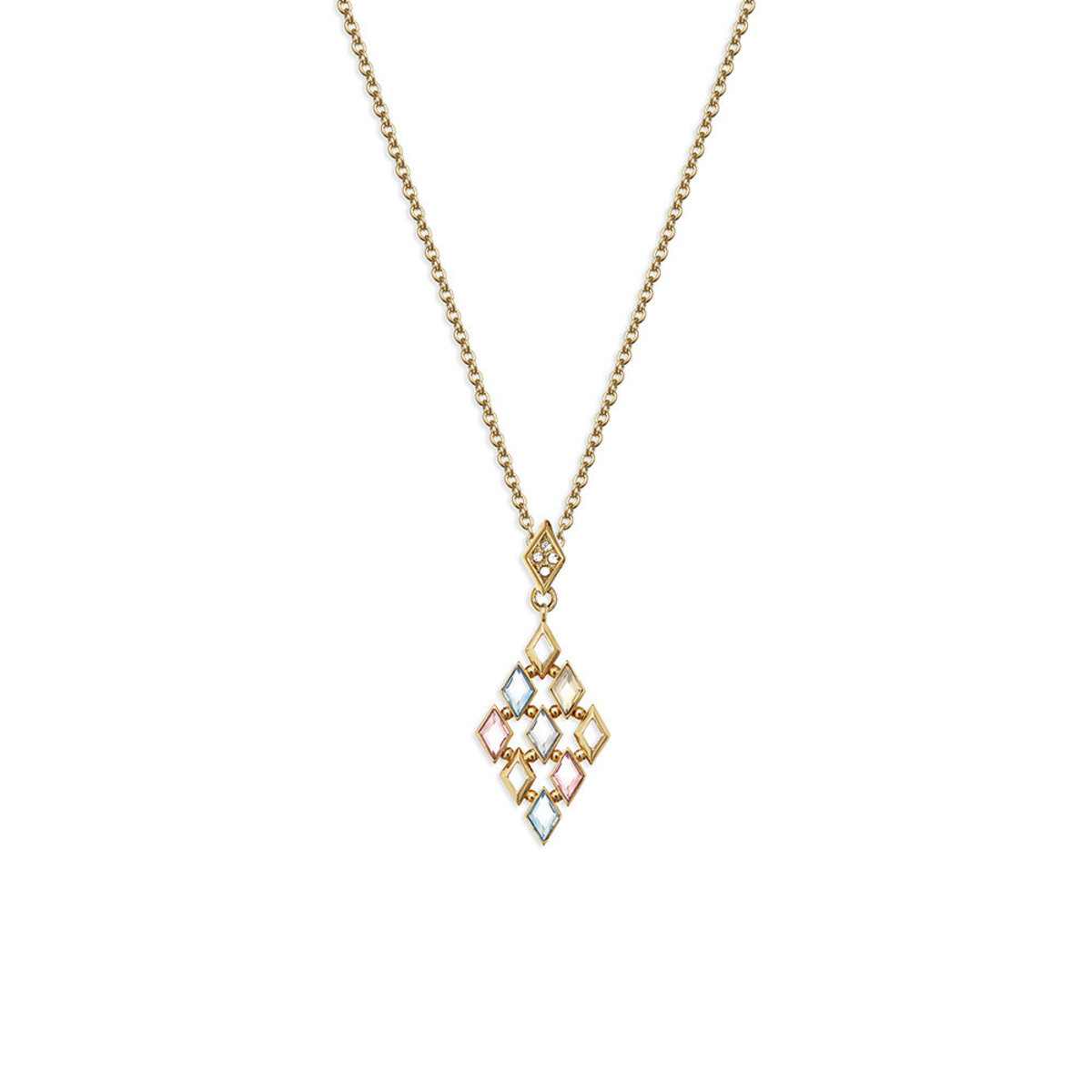 Glitter: gold plating, multi-coloured Swarovski crystal necklace