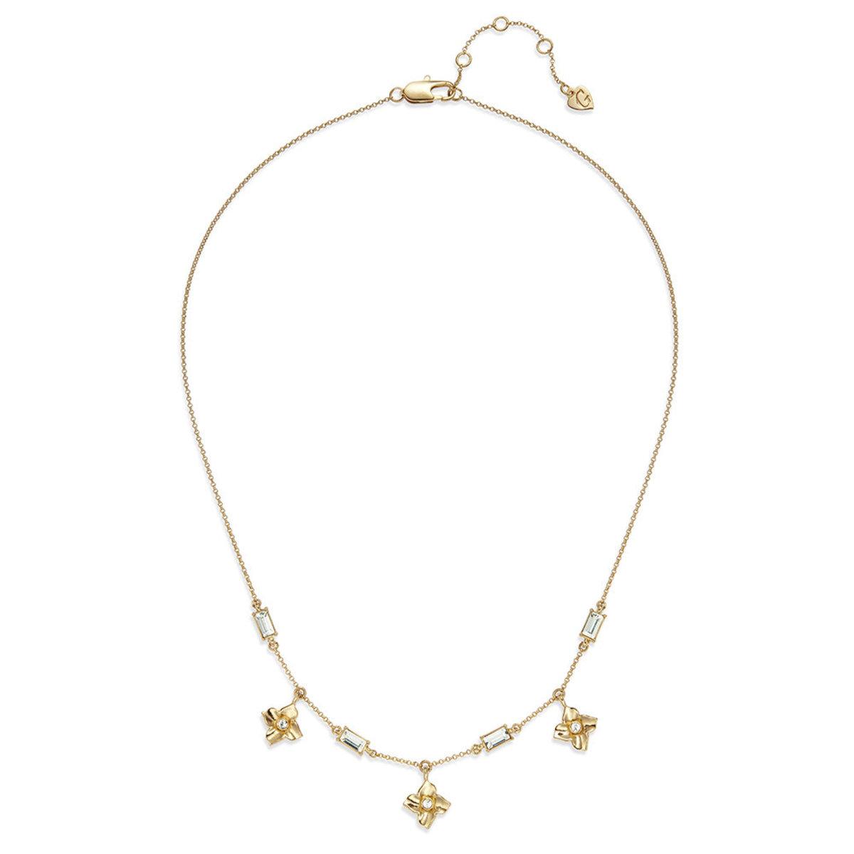 Lulud: gold plating, Swarovski crystal, flower necklace