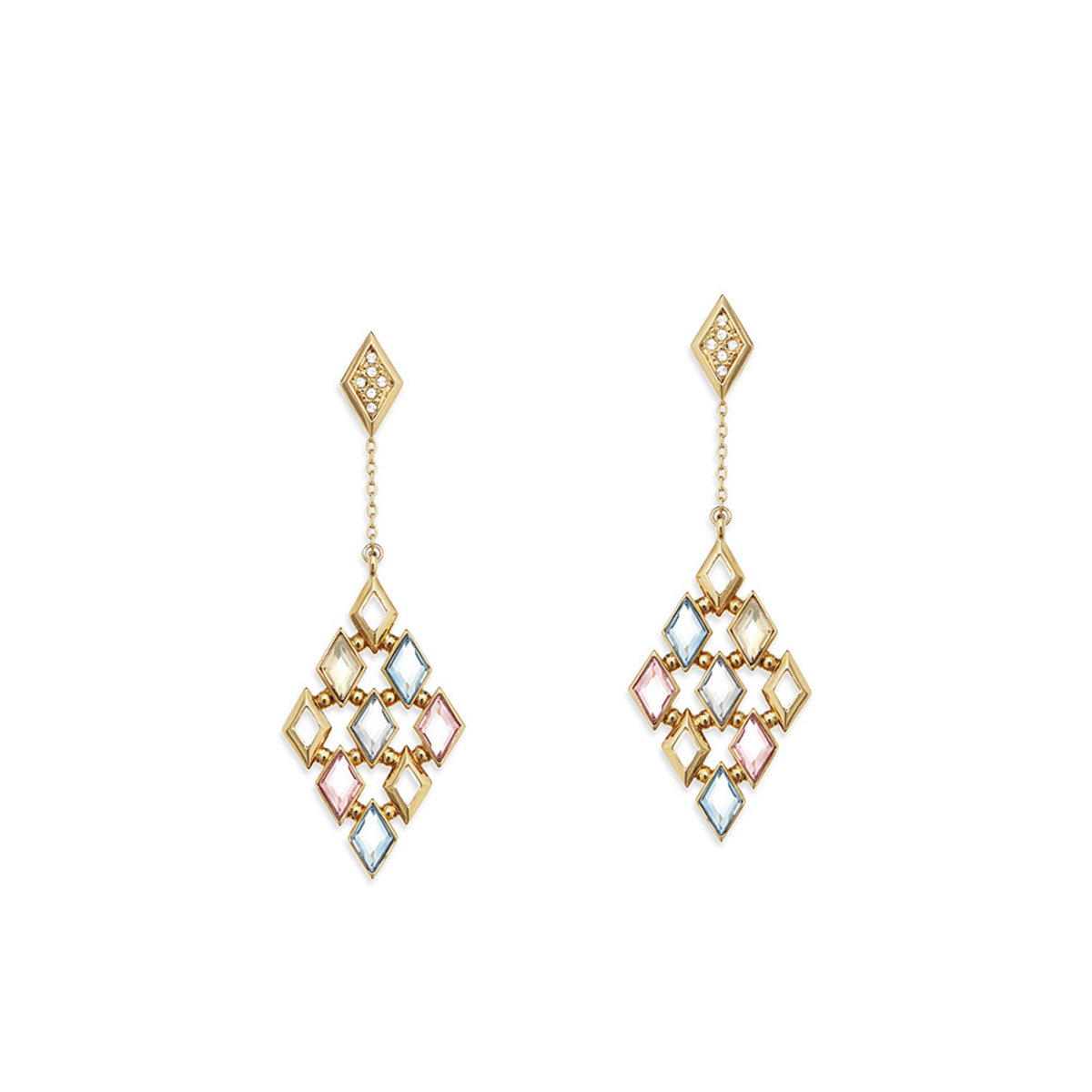 Glitter: gold plating, multi-coloured Swarovski crystal, 2-way pierced earrings