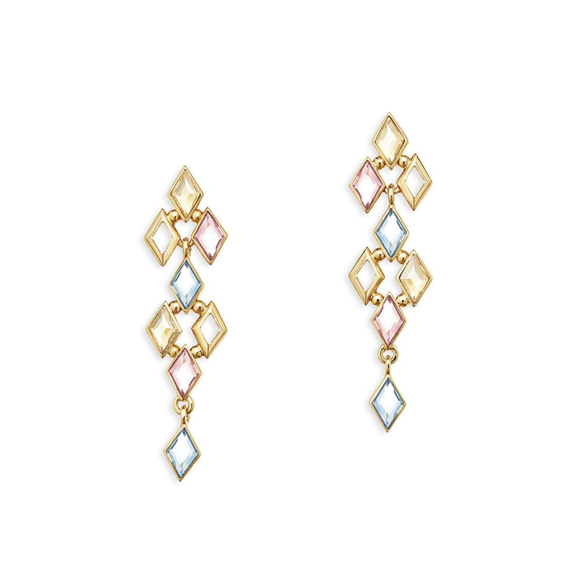 Glitter: 金色, 多色Swarovski 水晶石穿孔耳環