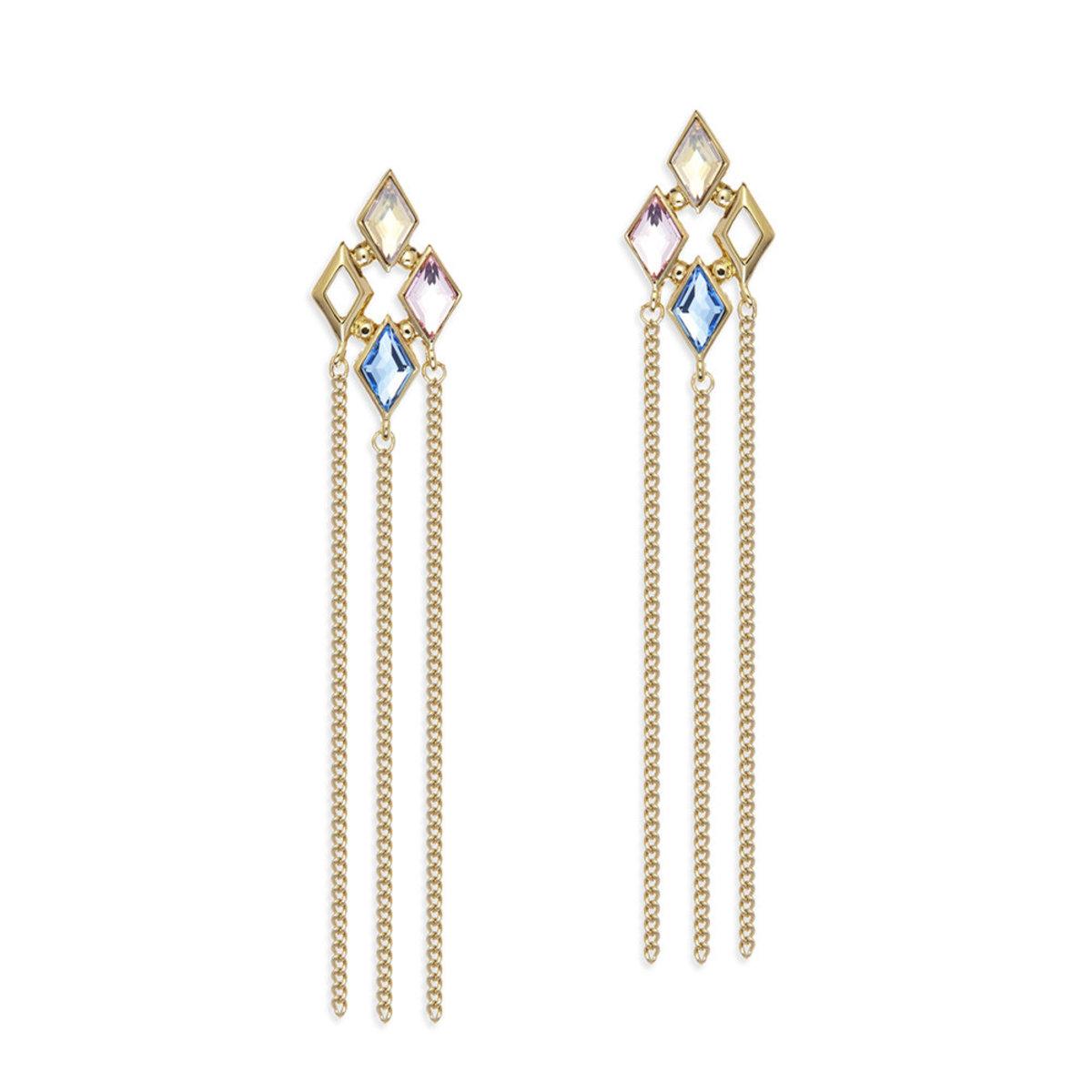Glitter: gold plating, multi-coloured Swarovski crystal pierced earrings