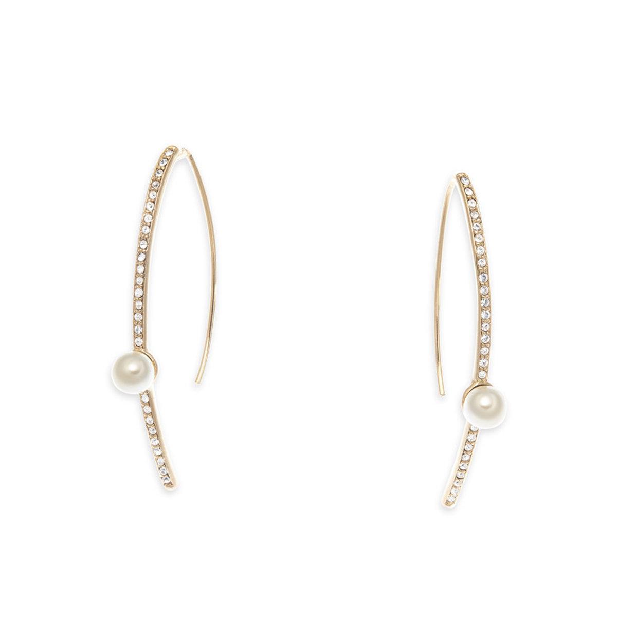 Pearl Light: gold plating, Swarovski crystal, Czech crystal pearl fish hook earrings