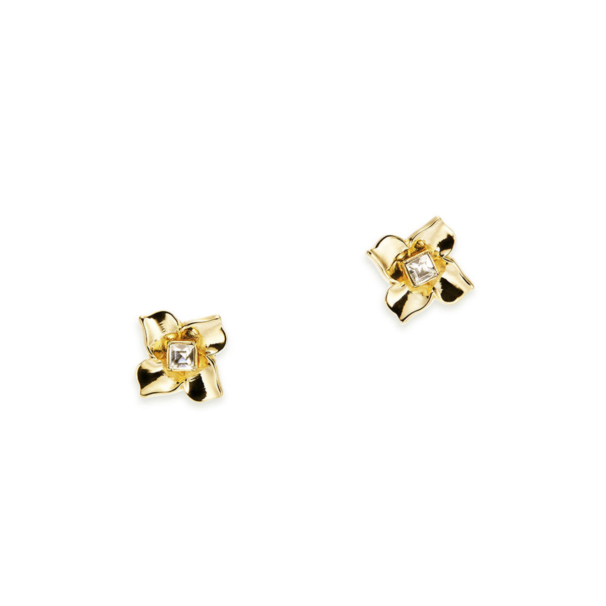 Lulud: gold plating, Swarovski crystal, flower pierced earrings