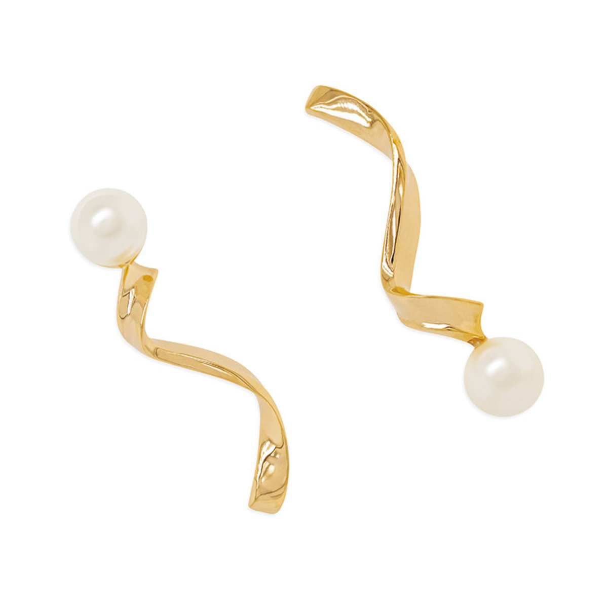 Ruffles Pearl: gold plating, Swarovski pearl pierced earrings
