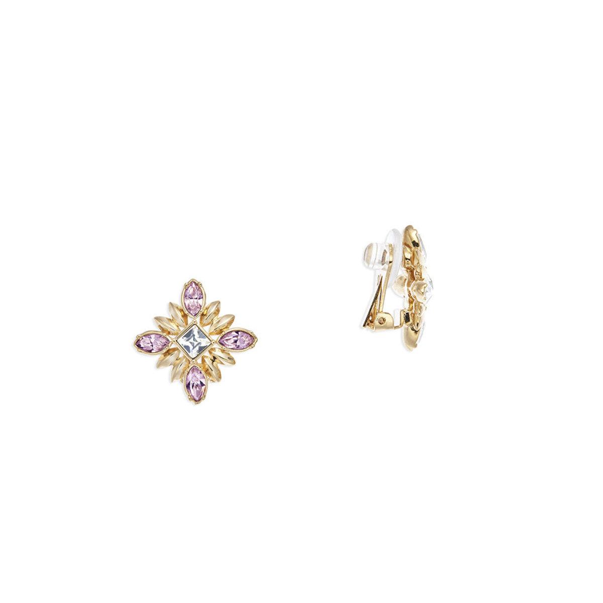Athene: gold plating, Swarovski light amethyst crystal clip earrings