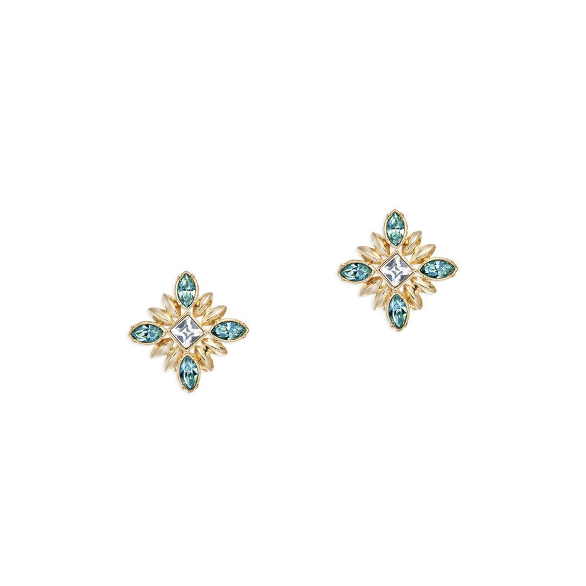 Athene: gold plating, Swarovski light turquoise crystal pierced earrings