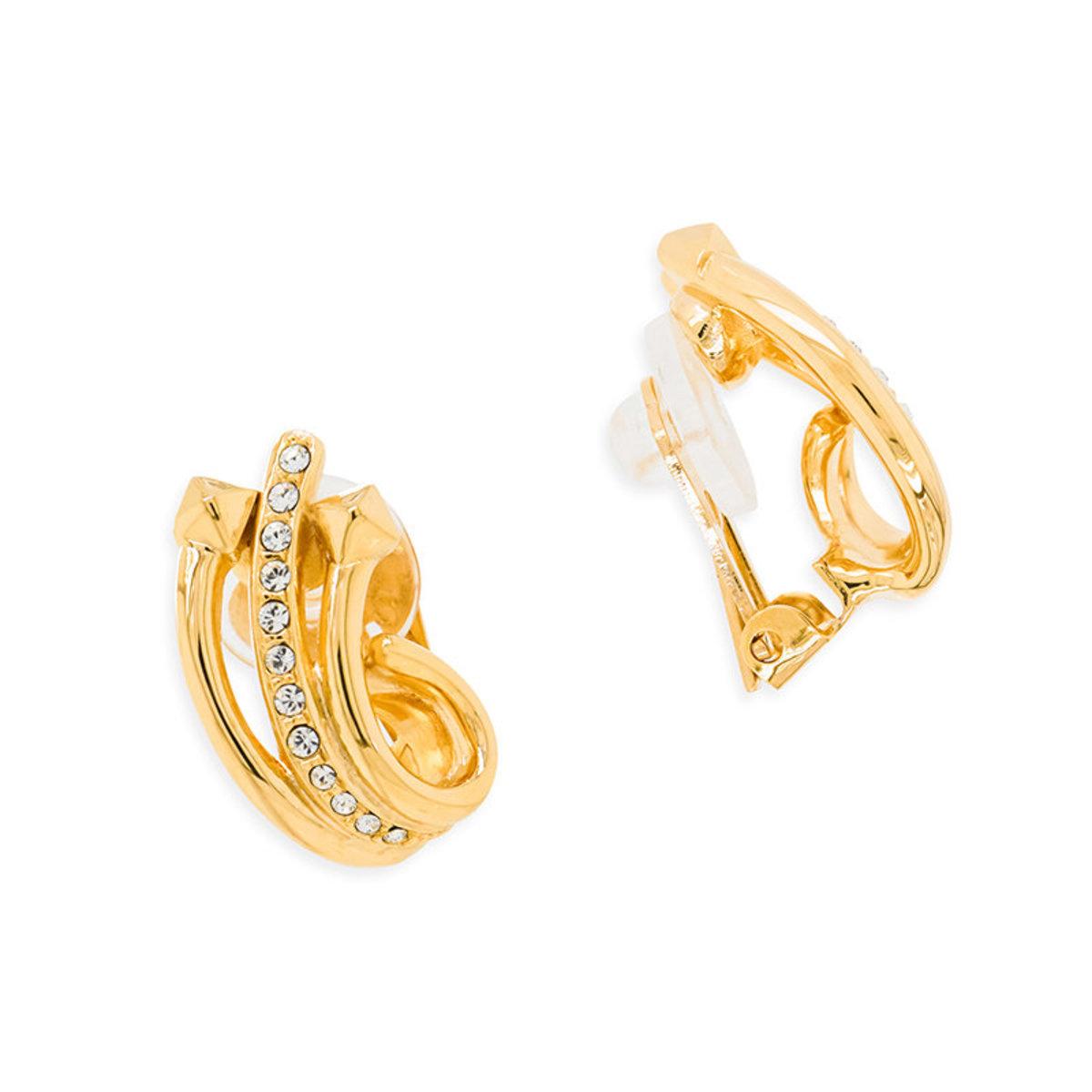 Tasseltastic: gold plating, Swarovski crystal clip earrings
