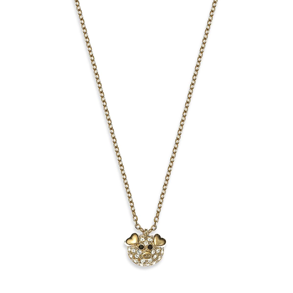 小可愛: 金色, Swarovski水晶石雙面設計小豬豬吊墜項鍊