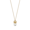 Petit Ami: gold plating, Czech crystal pearl piggy necklace