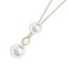 Blanc: gold plating, Czech crystal pearl, Swarovski crystal pendant necklace