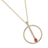 Rouge: gold plating, Swarovski red crystal pendant long necklace