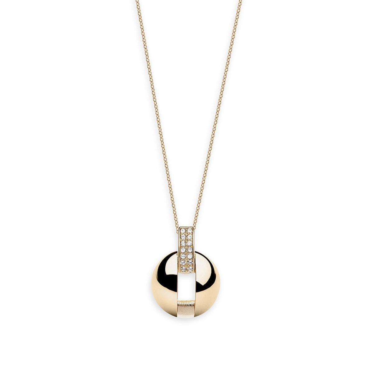 Reflection: gold plating, Swarovski crystal, round pendant necklace