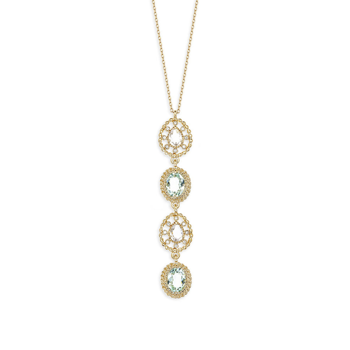 Eclat Palette: light gold plating, Swarovski chrysolite/clear crystal, pendant necklace