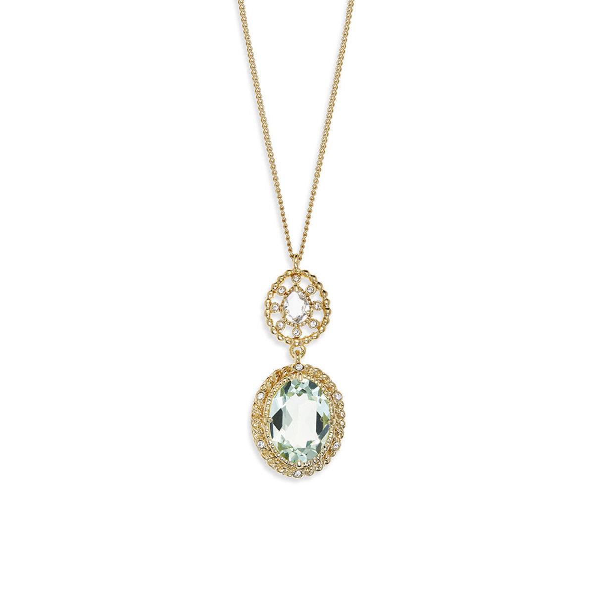 Eclat Palette: light gold plating, Swarovski chrysolite/clear crystal, pendant necklace