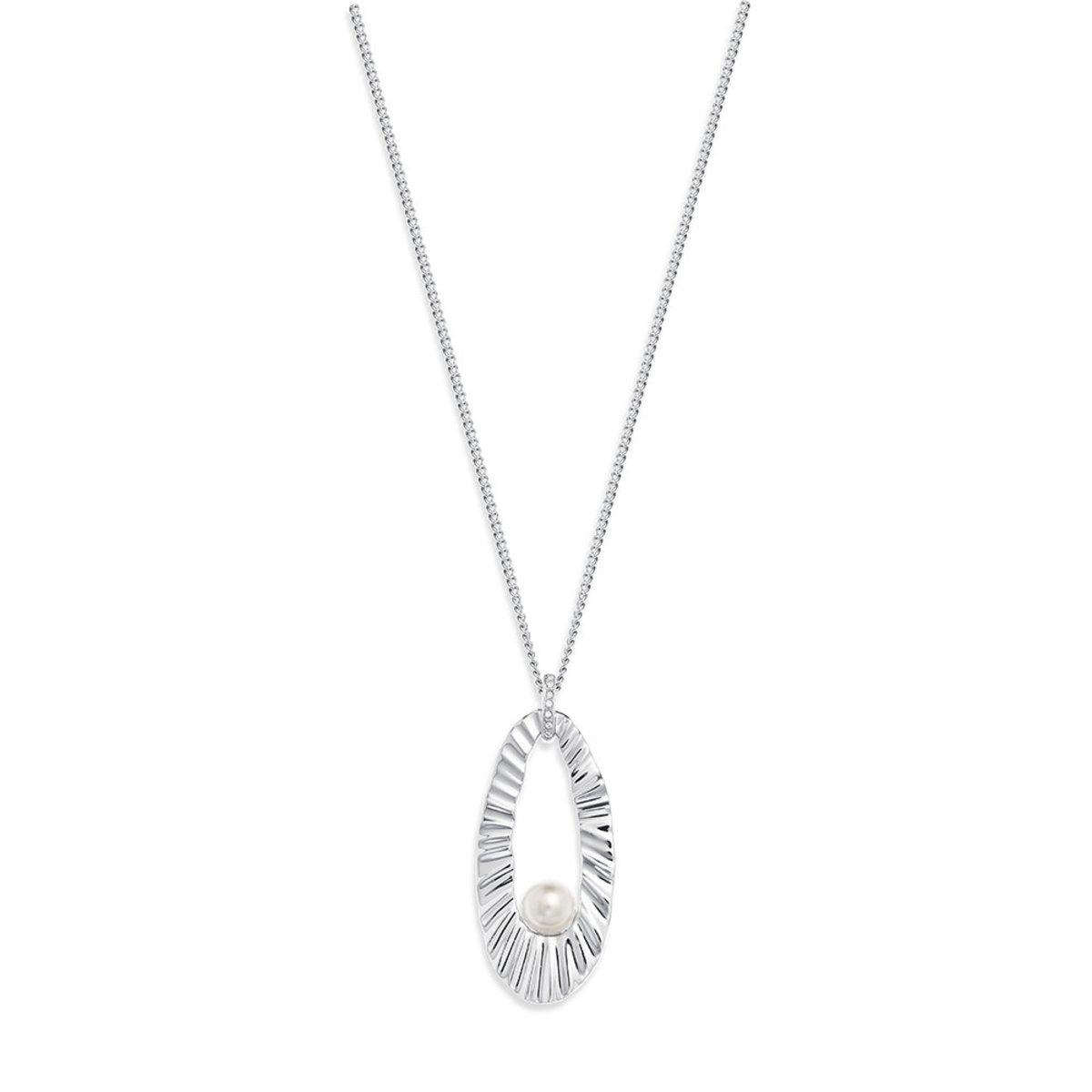 Glanz: platinum plating, Czech crystal pearl, Swarovski crystal necklace