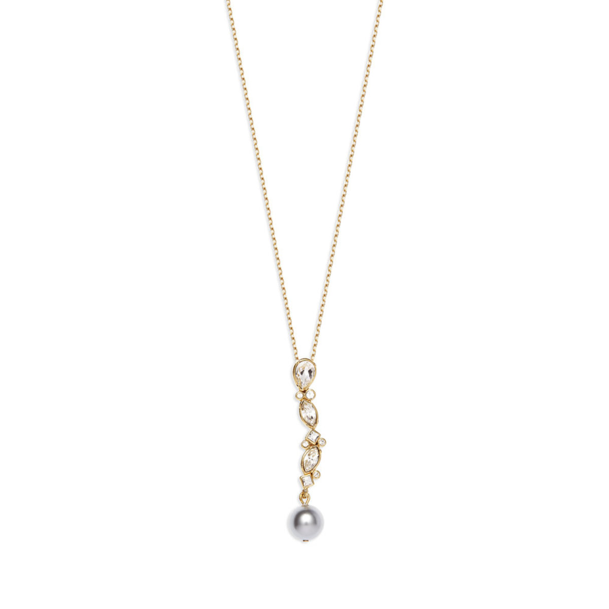 Versatile Pearl:gold plating, Swarovski crystal, light grey Czech crystal pearl necklace