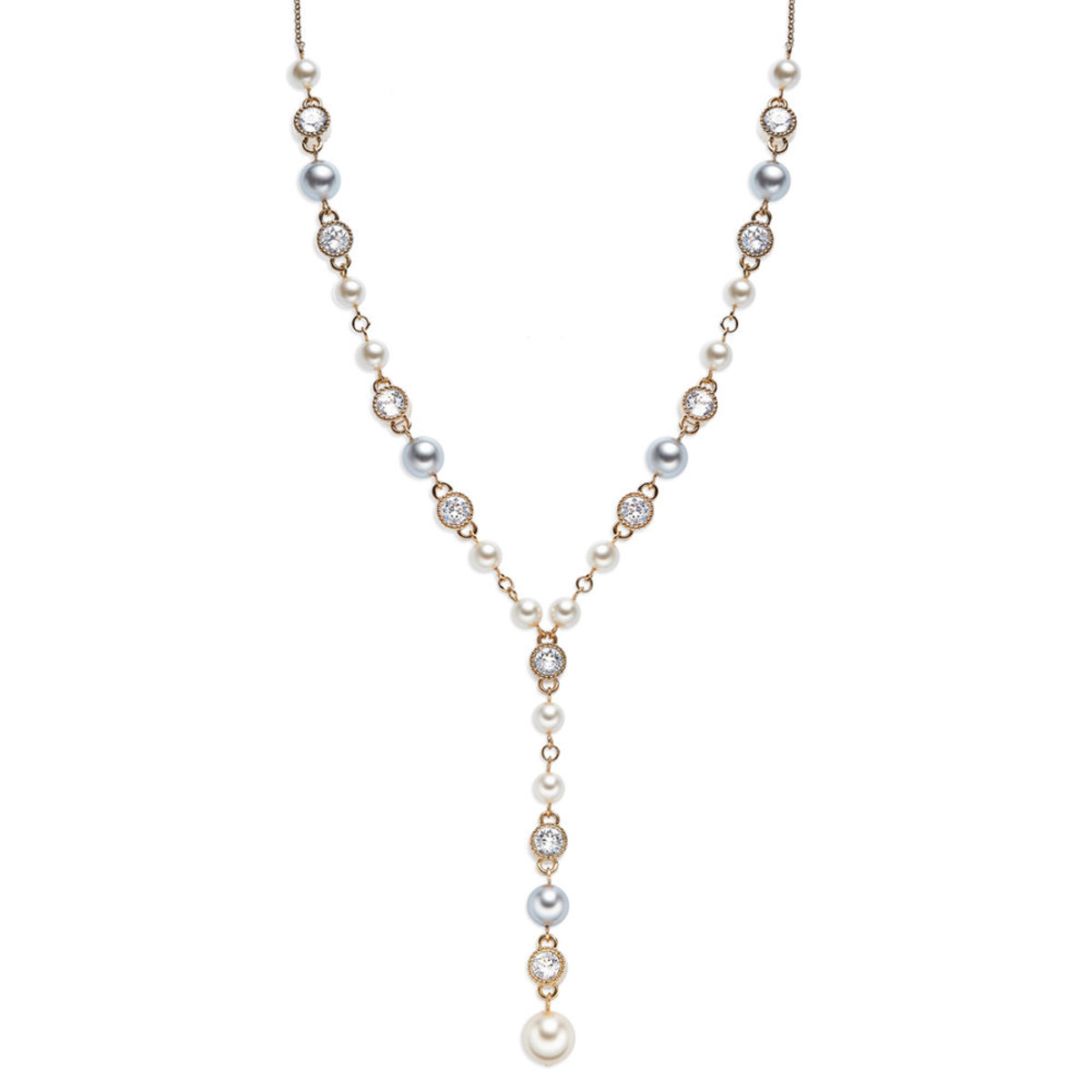 Versatile Pearl: gold plating, Swarovski crystal, white enamel, Czech crystal pearl necklace