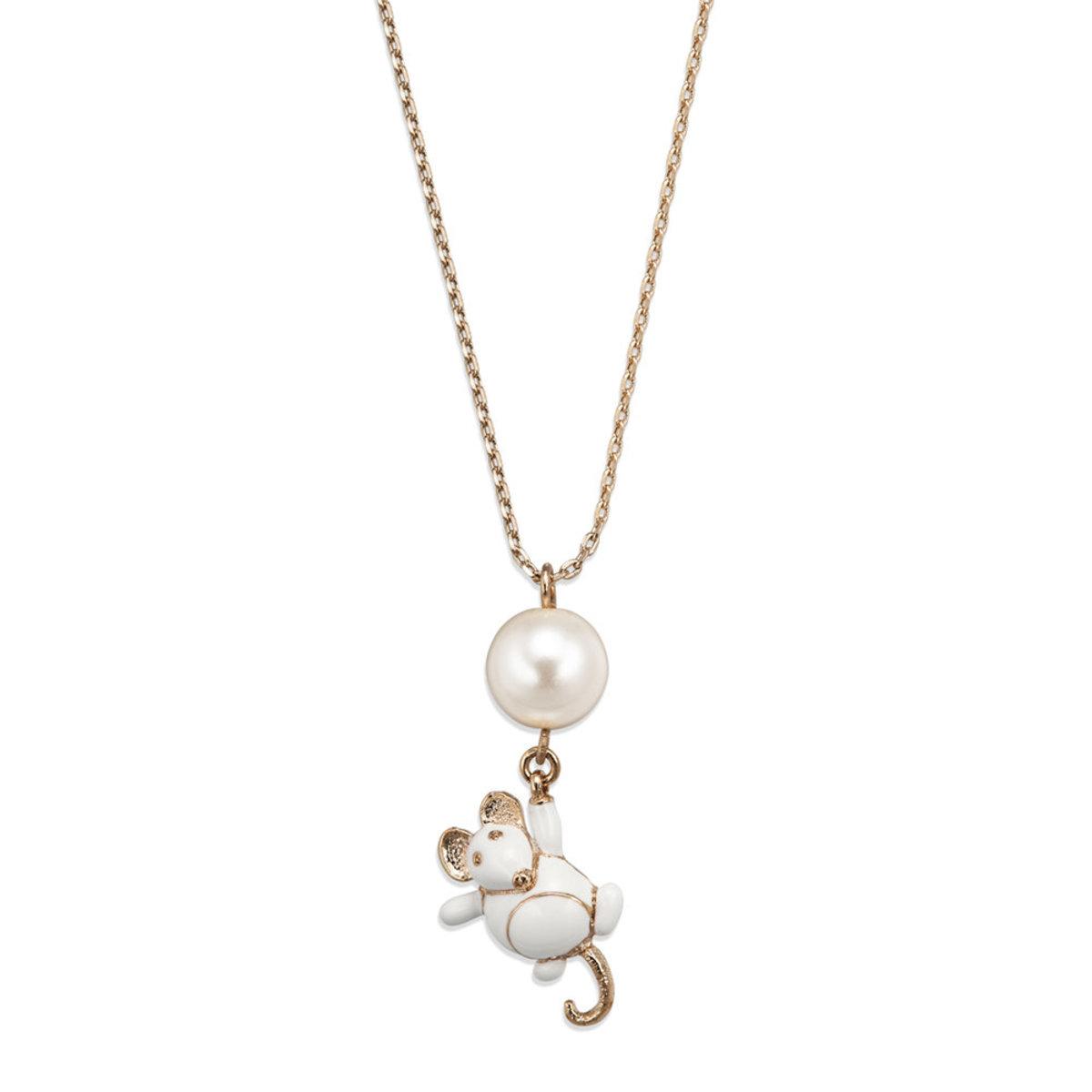 Petit Ami: gold plating, Czech crystal pearl, enamel, 3-D mouse pendant necklace