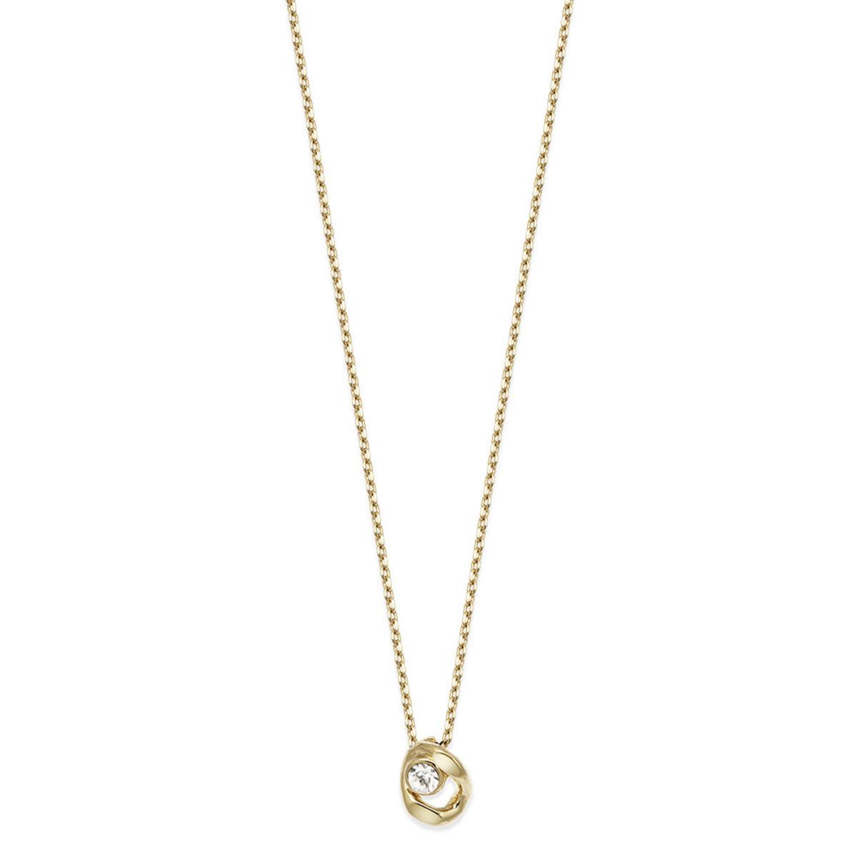 The Wave: gold plating, Swarovski crystal pendant necklace