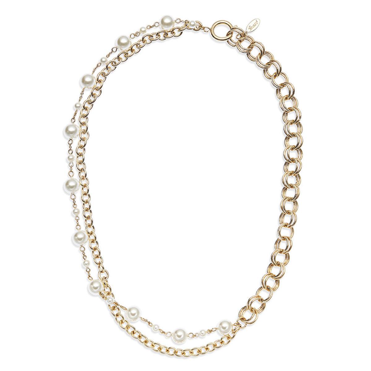 Catena: gold plating, Swarovski pearl necklace