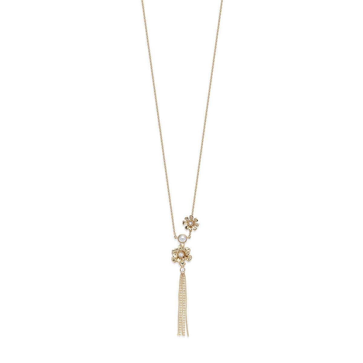 Lush Blossom: gold plating, Swarovski crystal, Swarovski pearl, flower pendant necklace