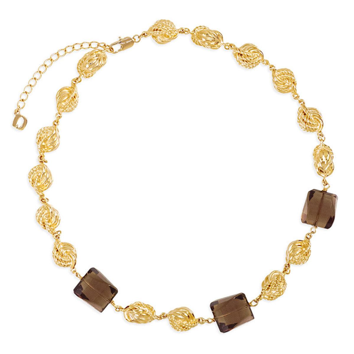 Natura bracelet: gold plating, smoky quartz necklace
