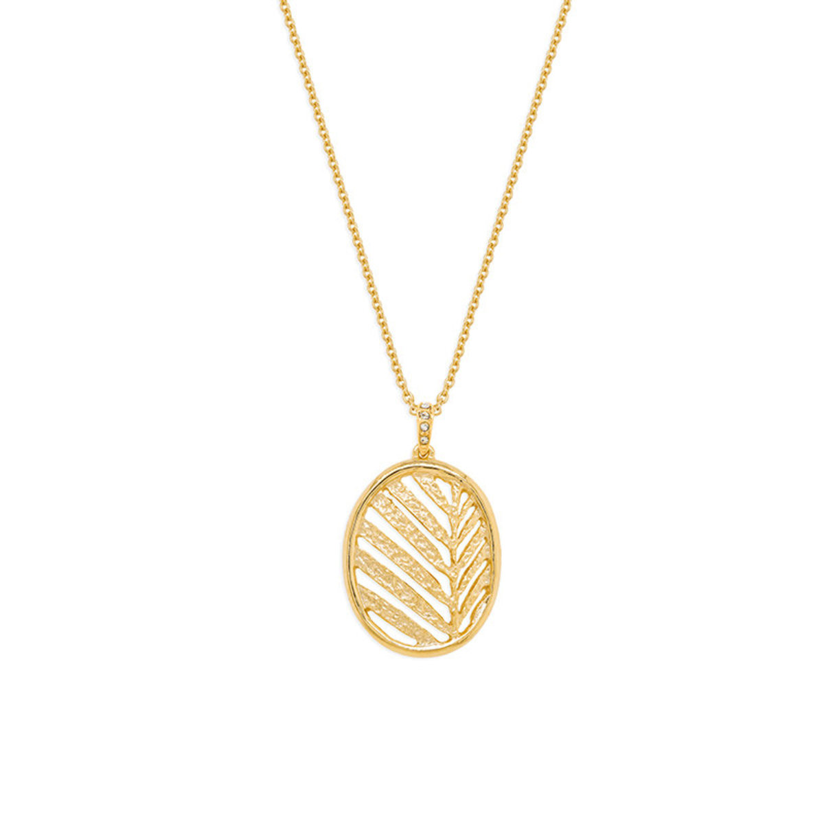 Foglia: gold plating, Swarovski crystal pendant necklace