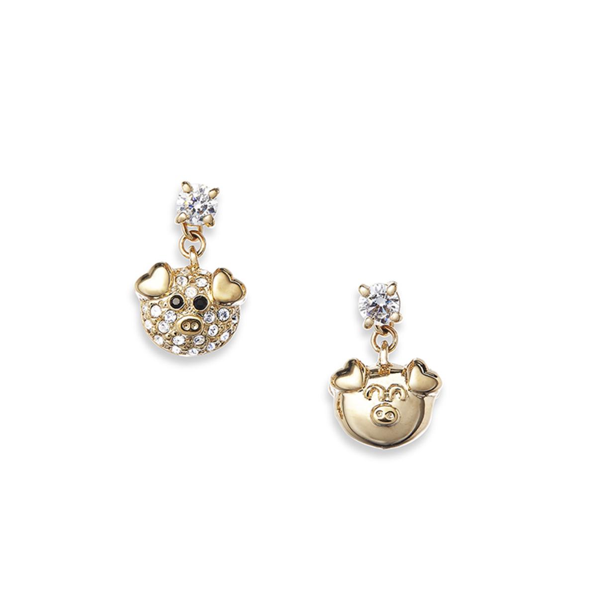 Petit Ami: gold plating, Swarovski crystal, CZ stone dounle face piggy pierced earrings
