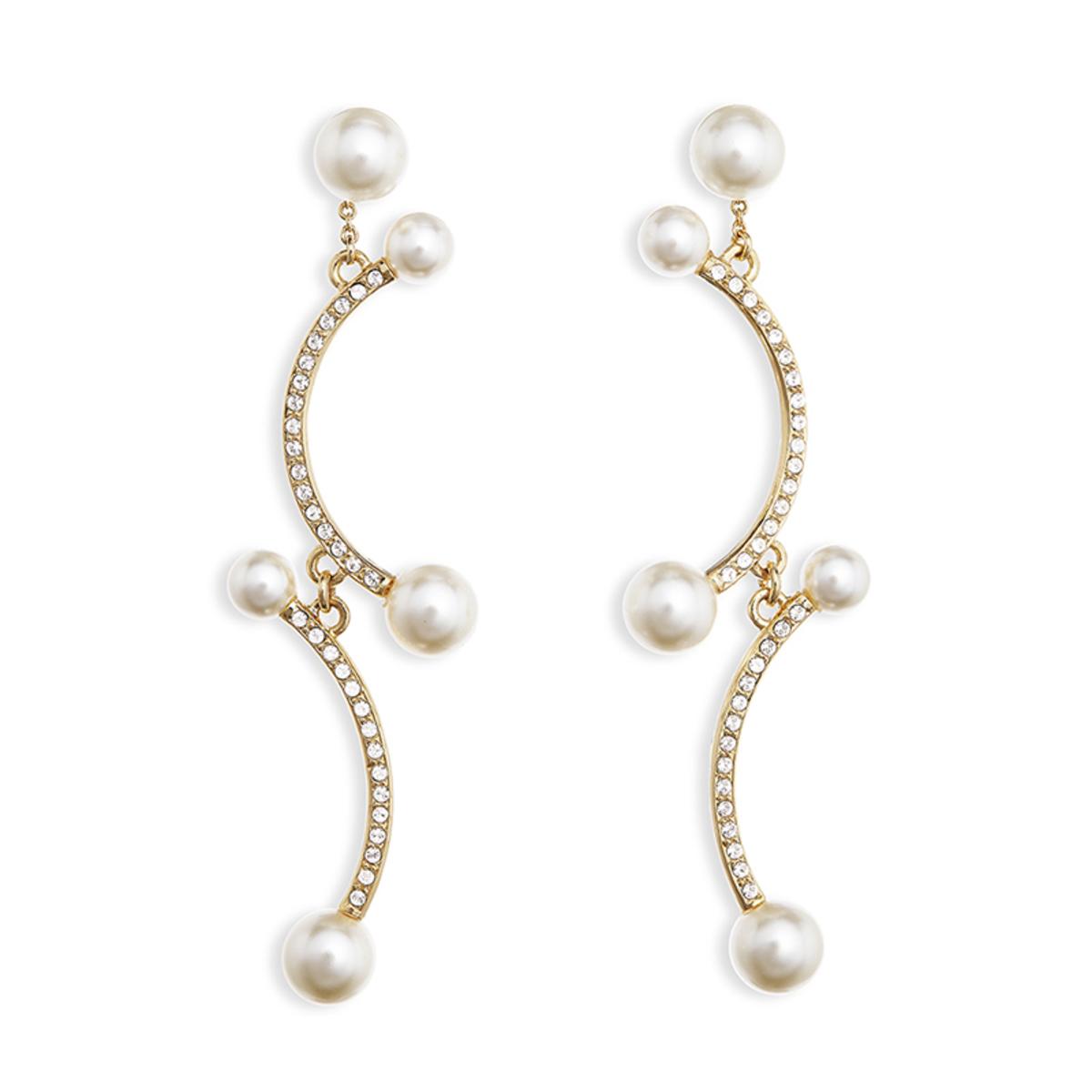 雪姬: 金色, 捷克水晶仿珍珠, Swarovski水晶石吊墜耳夾
