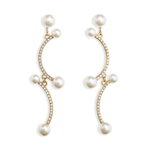 Blanc: gold plating, Czech crystal pearl, Swarovski crystal screw clip earrings