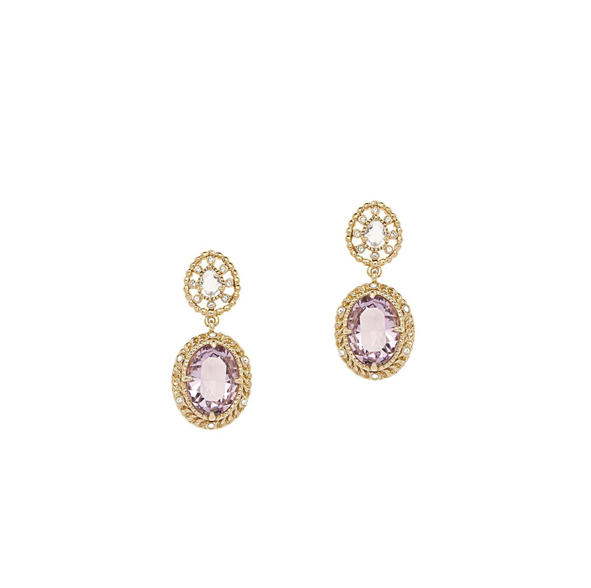 Eclat Palette: gold plating, Swarovski light amethyst/clear crystal pierced earrings