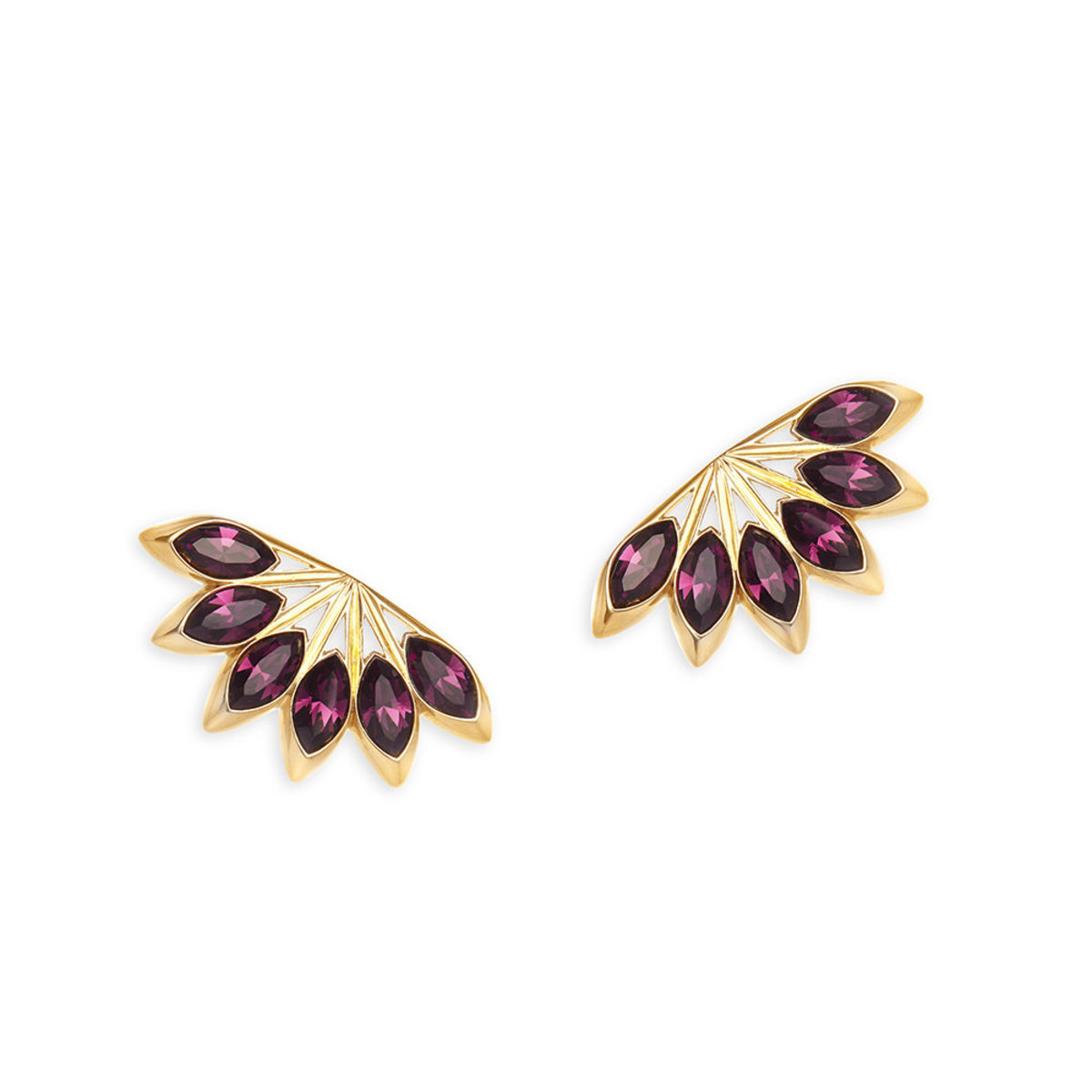 Ailes:gold plating, Swarovski amethyst crystal pierced earrings